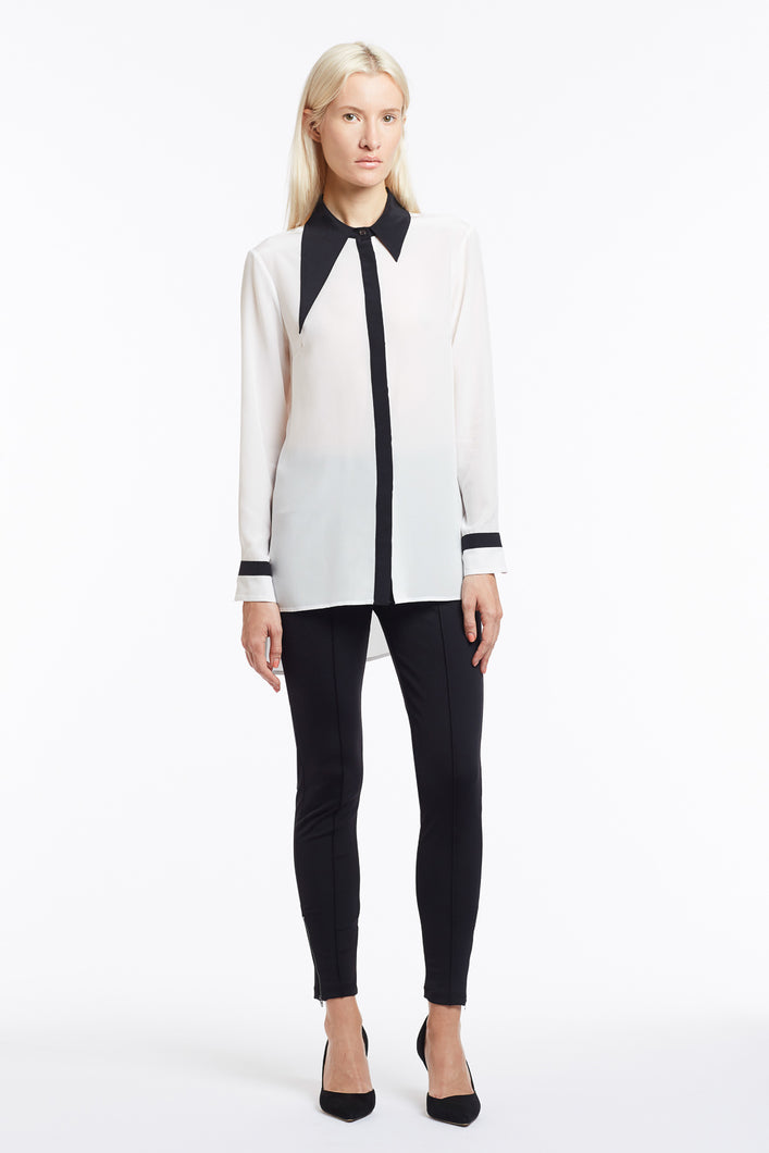 B049 Philo Asymmetrical Collar Black and White Silk Blouse - Front