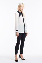 B049 Philo Asymmetrical Collar Black and White Silk Blouse - 3/4 View