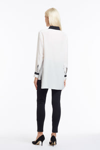 B049 Philo Asymmetrical Collar Black and White Silk Blouse - Back