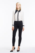 B049 Philo Asymmetrical Collar Black and White Silk Blouse - Tucked In