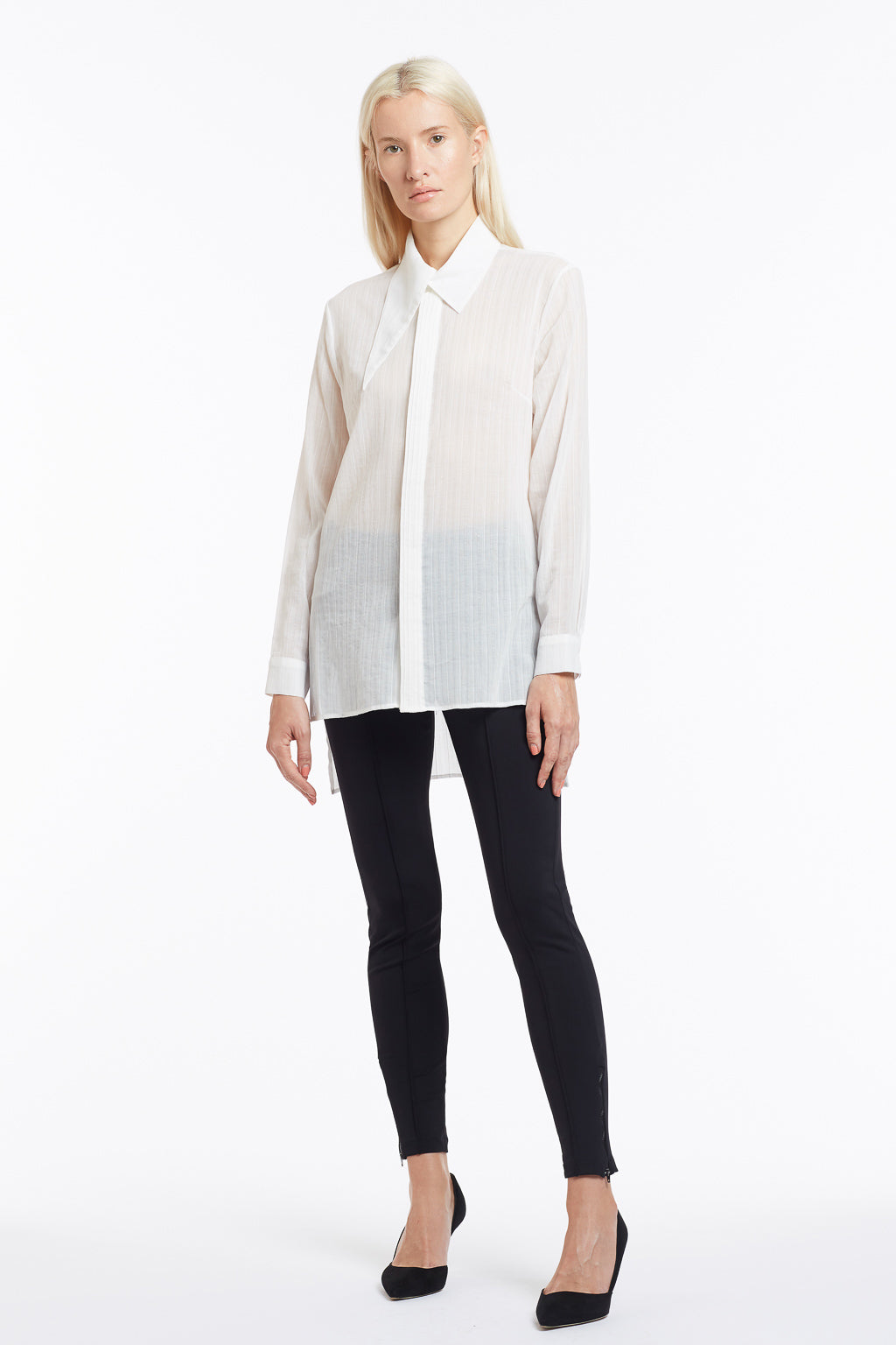 B050 Patty Tuxedo Blouse with Pintuck Placket and Asymmetrical Collar - Front
