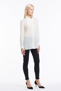 B050 Patty Tuxedo Blouse with Pintuck Placket and Asymmetrical Collar - 3/4 View