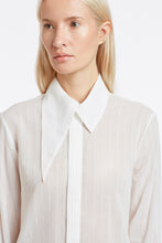 B050 Patty Tuxedo Blouse with Pintuck Placket and Asymmetrical Collar - Detail