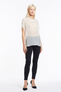 B048 Heather Beaded Chiffon T-Shirt - Front