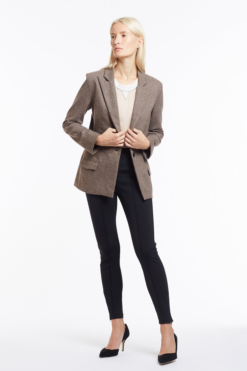J015 Kimberley Oatmeal Wool Tailored Jacket - Front