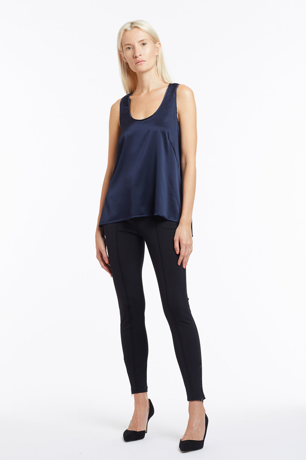 B003 Makena Silk Tank Top - Front