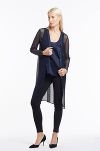 J016 Suzanne Navy Mesh Cardigan - Front