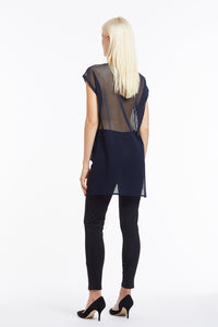 B051 Sleeveless Navy Mesh Tunic Top - Back