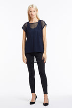 B051 Sleeveless Navy Mesh Tunic Top - Front
