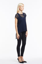 B051 Sleeveless Navy Mesh Tunic Top - 3/4 Sleeve
