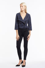 J014 Three-Quarter Sleeve Mari Moto Jacket in Navy Camo - Front Flaps Open