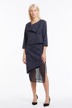 S020 Liz Asymmetrical Navy Camo Skirt with Mesh - Suit