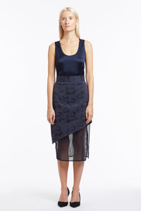 S020 Liz Asymmetrical Navy Camo Skirt with Mesh - Front