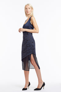 S020 Liz Asymmetrical Navy Camo Skirt with Mesh - Side