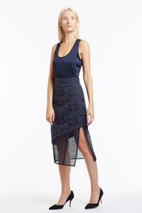 S020 Liz Asymmetrical Navy Camo Skirt with Mesh - 3/4 View