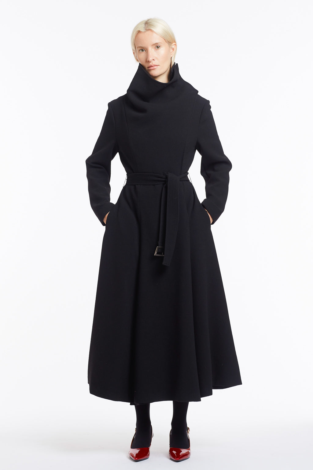 J018 Coco Cowl Neck Full-Length Flared Coat in Black Wool - Front