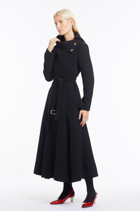 J018 Coco Cowl Neck Full-Length Flared Coat in Black Wool - Neck Open