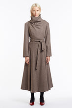 J018 Coco Cowl Neck Full-Length Flared Coat in Oatmeal Wool - Front