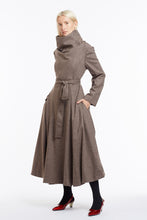 J018 Coco Cowl Neck Full-Length Flared Coat in Oatmeal Wool - 3/4 View