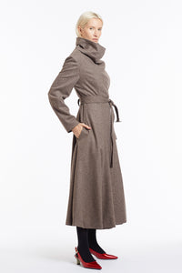 J018 Coco Cowl Neck Full-Length Flared Coat in Oatmeal Wool - Side