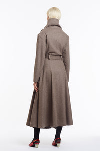 J018 Coco Cowl Neck Full-Length Flared Coat in Oatmeal Wool - Back