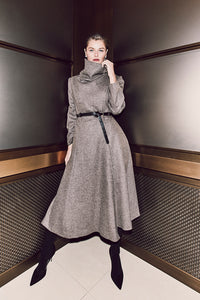 J018 Coco Cowl Neck Full-Length Flared Coat in Oatmeal Wool - Lookbook Shot