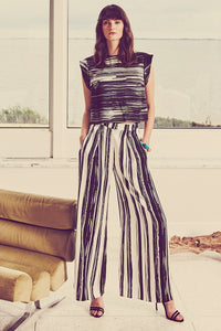 B035-CHAR-BWH Black and White Striped Silk Zoey Top Lookbook Shot