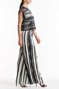 B035-CHAR-BWH Black and White Striped Silk Zoey Top Side View
