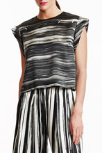 B035-CHAR-BWH Black and White Striped Silk Zoey Top Front View