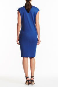 D025-JERS-147 Rachel Drape Front Jersey Dress - Back View