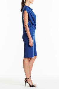 D025-JERS-147 Rachel Drape Front Jersey Dress - Side View