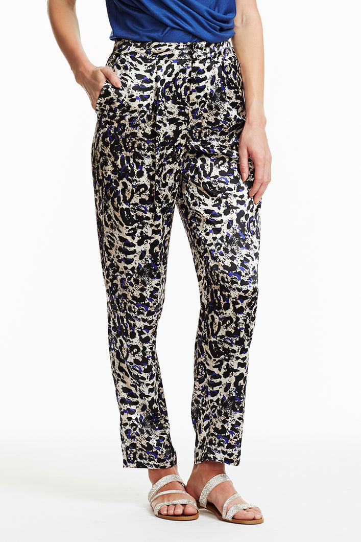 P006-CHAR-PRSA Alex Silk Tapered Pants - Front View