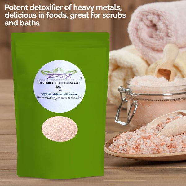FINE GRADE 100 % PURE PINK HIMALAYAN SALT 1kg Naturally Organic ( Free UK Delivery)