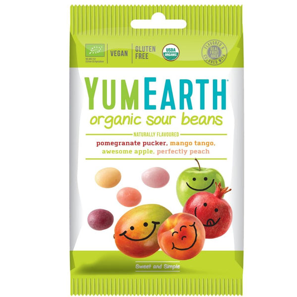 yumEarth sour jelly beans 20g snack pack