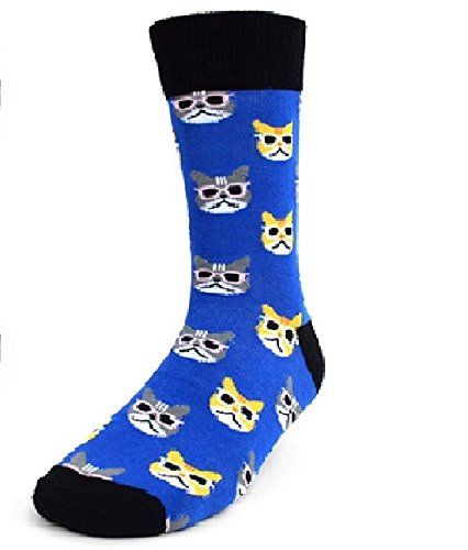 Mens Crew Socks, Cats by Parquet