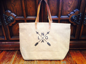 NOLA Arrow Tote Bag, Sturdy Straw with Leather Straps
