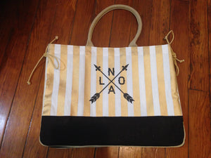 Striped Tote Bag, Black and Gold, NOLA Arrow