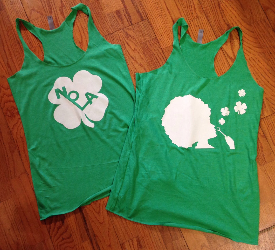 NOLA Shamrock and Bubble Girl Shamrock, Razor Back Tanks