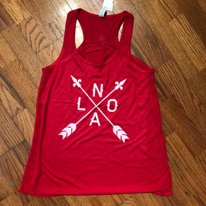 Red and White NOLA Arrow Tank Top