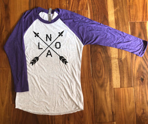 NOLA Arrow, Baseball 3/4 Sleeves