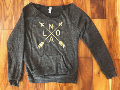 Off-The-Shoulder NOLA Arrow, Women's Maniac Sweatshirt