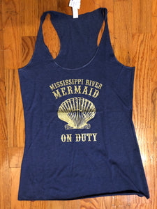 Mississippi River Mermaid on Duty, Racerback Tank