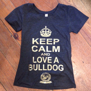 Keep Calm And Love A Bulldog Shirt- Womens Track Shirt, Donate To A Good Cause!