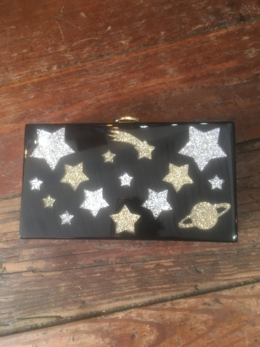 High end Stars & Moon Clutch Judith Leiber-esque