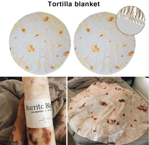 Real looking burrito blanket that looks like a tortilla shell taco