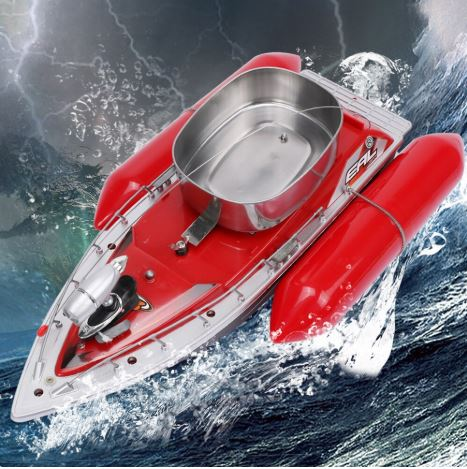 Red RC fishing boat in water with chum tray on top to attract more fish