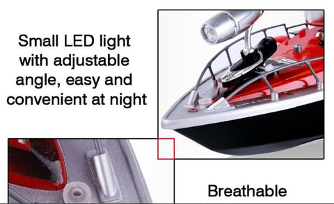 Bow of red RC fishing boat with LED light and chum tray on top to attract more fish
