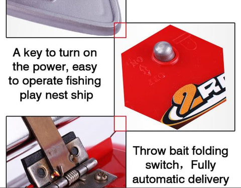 Showing parts of red RC fishing boat with chum tray on top to attract more fish