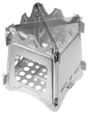 Top view of small wood burning portable camping survival stove
