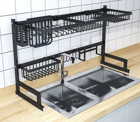 Over the sink drip dry kitchenware organizer and counter space optimizer without and dishes or utincils